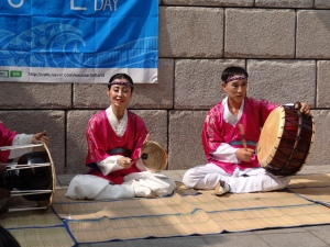 Traditional South Korean drummers